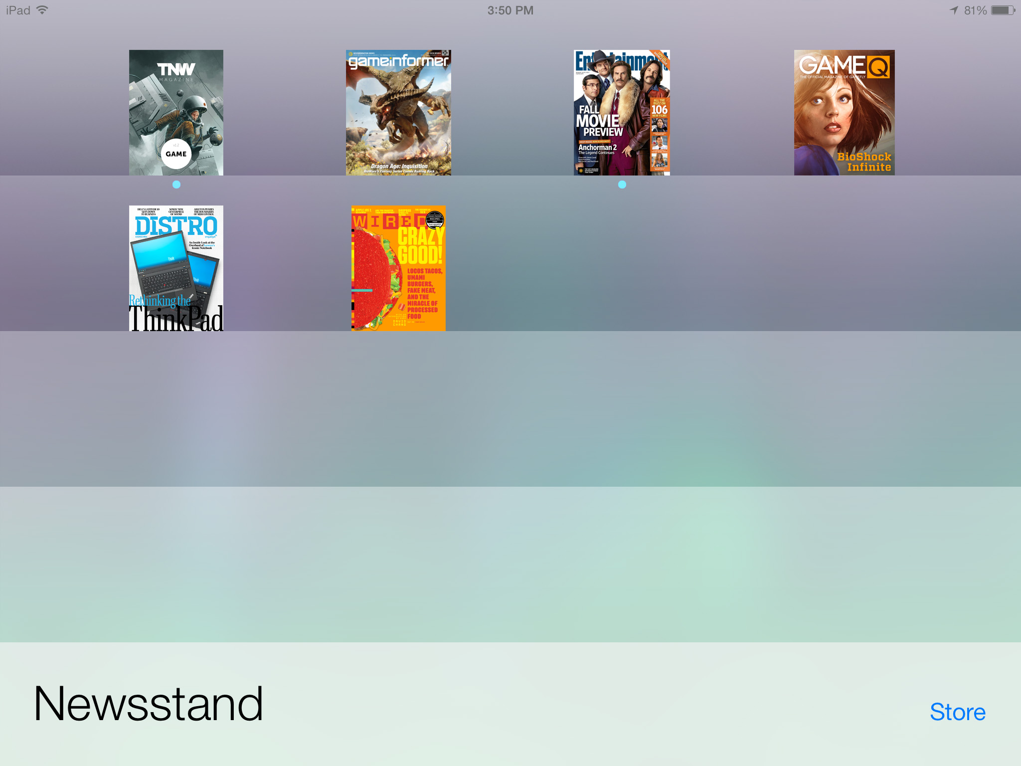 ios 7 newsstand app screenshot